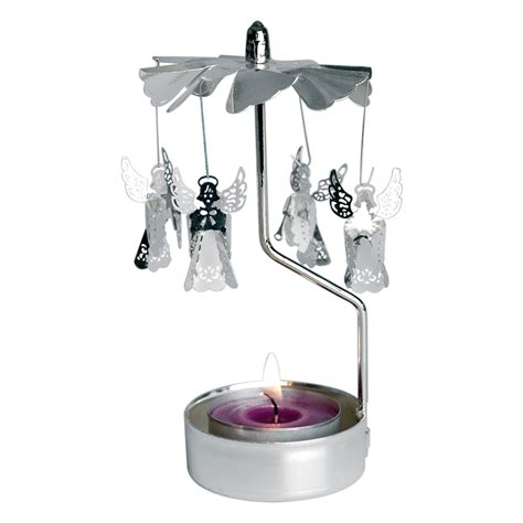 dotcomgiftshop rotating silver angels tea light candle
