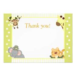 jungle safari baby shower thank you notes 5x7 paper