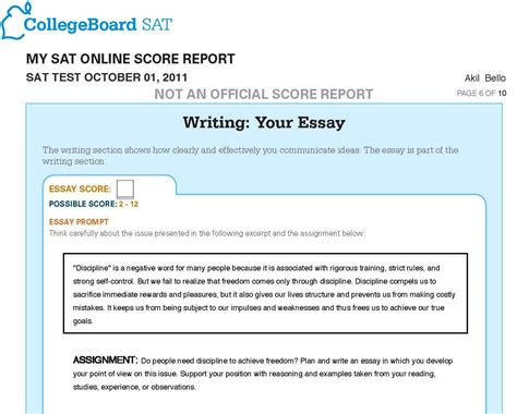October 6 Sat Essay by Sat Essay Score 6 Out Of 12 Docoments Ojazlink