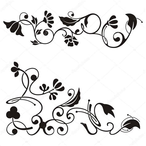 disegni clipart ornamental corner designs with floral details vector