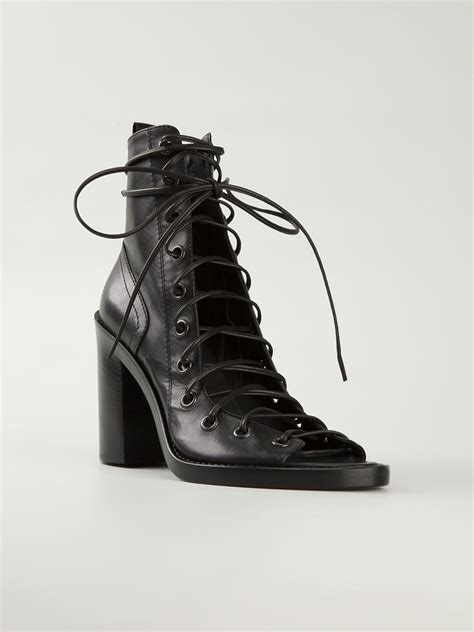 lace up front boots demeulemeester open front lace up boots in black lyst