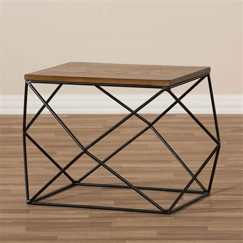 Wire Side Table Black Wire Wood Geo Side Table Modern Furniture Brickell Collection