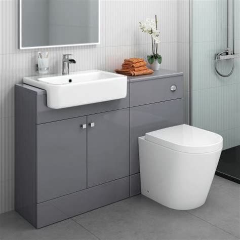 grey gloss bathroom 1160mm harper gloss grey combined vanity unit lyon pan