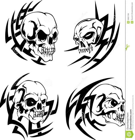 skull tattoos stock vector illustration of human bone