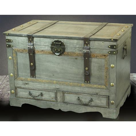 storage trunks with drawers vintiquewise rustic gray large wooden storage trunk coffee