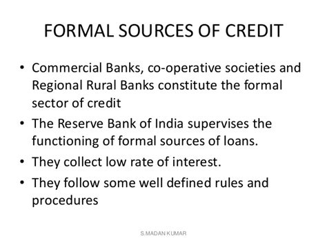 Formal Source Of Rural Credit Money And Credit