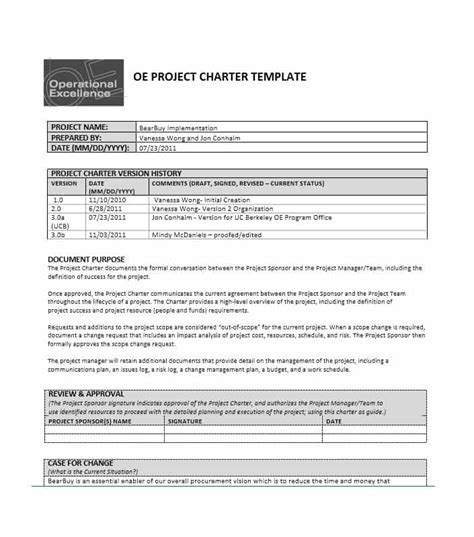 project charter sections 40 project charter templates sles excel word