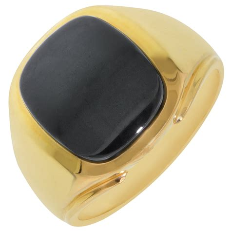 mens black onyx ring in 10kt yellow gold