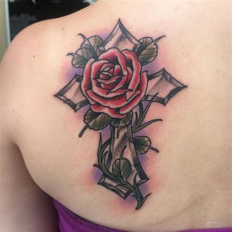 cross with roses tattoos cross with tattoos for faith tattoos for