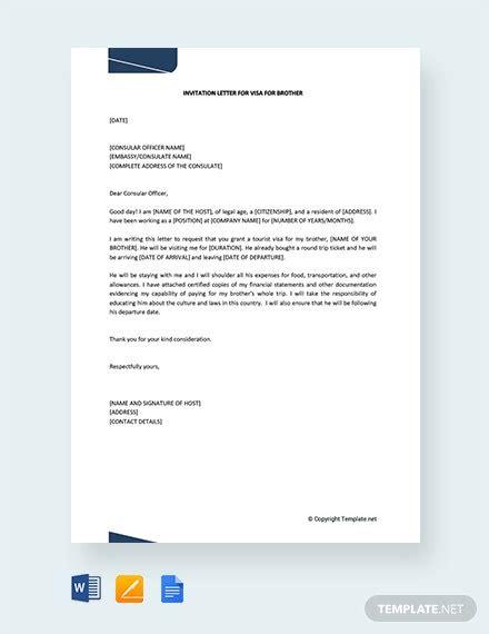 invitation letter visa brother template