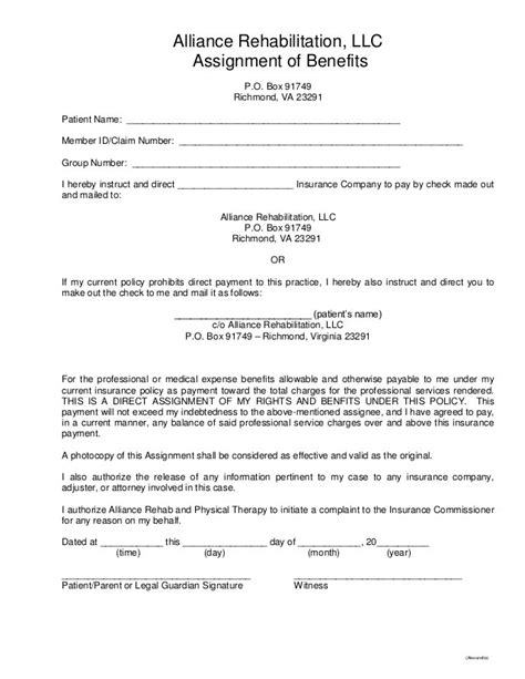 assignment of benefits form template read the print altizer