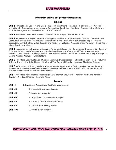 Investment Analysis And Portfolio Management Mba Notes by Investment Analysis And Portfolio Management