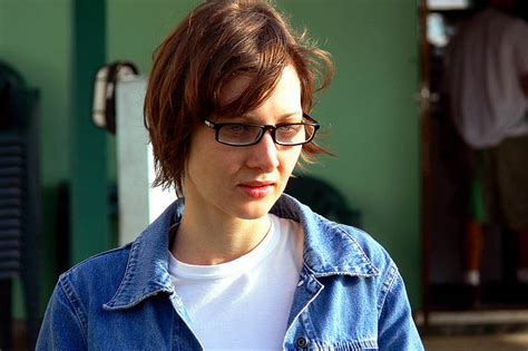 Christine Michael With Short Hair | christine woman portrait jeans jacket glasses