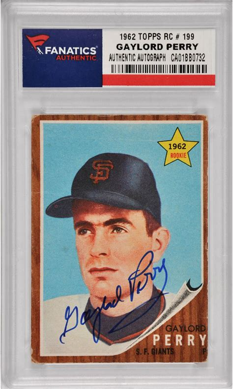San Francisco Giants Gift Card - gaylord perry san francisco giants autographed 1962 topps rookie 199 card