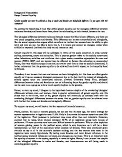 Gender Equality Essay Paper by Essay On Gender Equality Gcse Miscellaneous Marked By Teachers