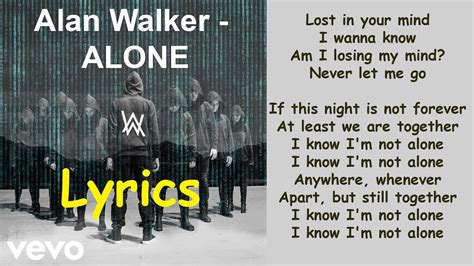 alan walker heart lyrics alan walker alone lyrics youtube