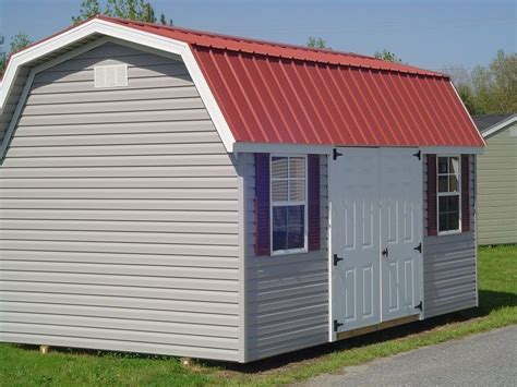 Sheds Direct 10 X 16 Vinyl Barn With Red Metal Roof And Vinyl Doors For Barns