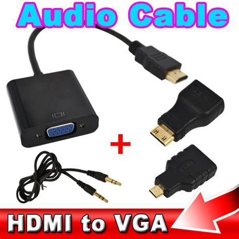 Kabel Micro New Grosir hdmi ke vga dengan kabel audio mikro mini hdmi adapter