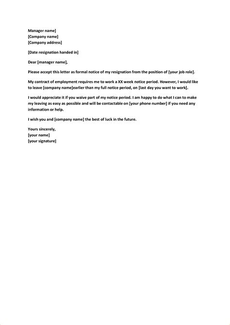 Employment Notice Letter Template 2 Weeks Notice Letter To Quit A Business Templated Business Templated
