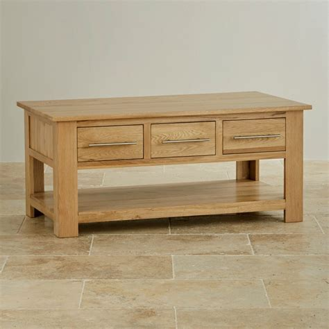 Solid Oak Coffee Table With Storage Rivermead 6 Drawer Coffee Table In Solid Oak