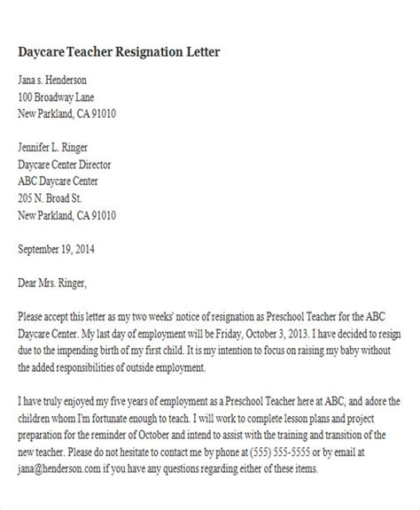 Withdrawal Letter To Child Care Centre 65 Sle Resignation Letters