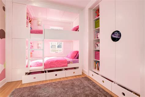 Triple Bunk Bed Kids Transitional With Girl Bunk Beds