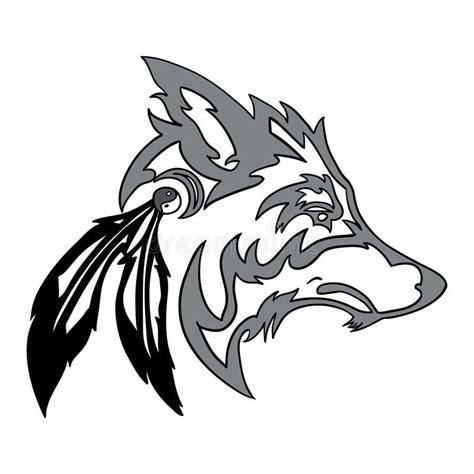 tribal wolf head stock vector illustration of animal