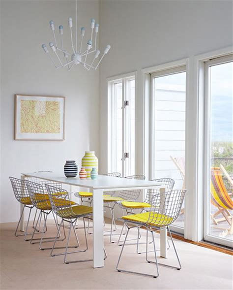 Yellow And White Dining Room by 10 Stylish Bertoia Chair Dining Room
