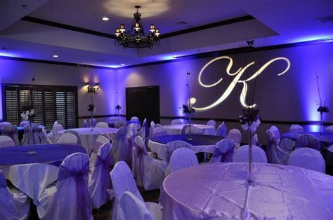 Quinceanera with purple lights and decor inside the Norris