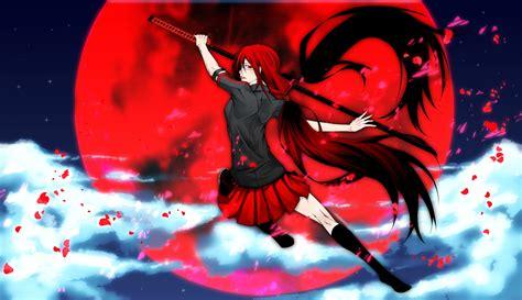 imagenes anime gore fuerte blood c glasses katana kisaragi saya ponytail red eyes red