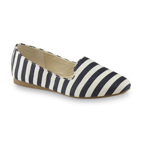blue and white flat shoes basic editions s hansol blue white striped flat