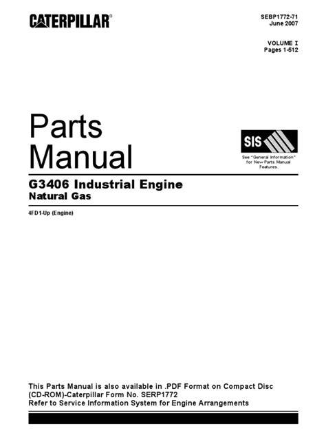 one manual parts manual cat g3406 vol 1