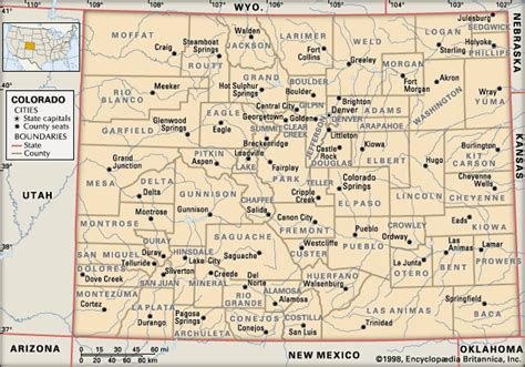 county map of colorado colorado counties and county seats encyclopedia children s homework help