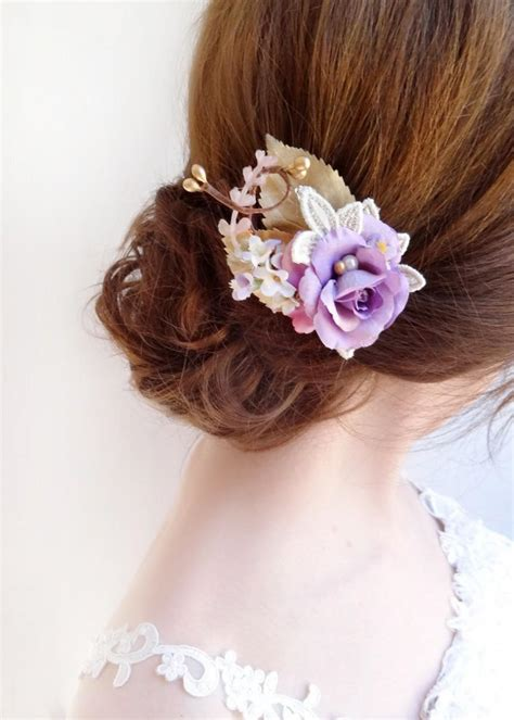 Wedding Hair Accessories Light by Bridesmaid Hairpiece Bridal Hair Clip Light Purple Hair