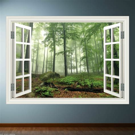 window frame full colour forest wall sticker decal