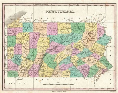 pa map file 1827 finley map of pennsylvania geographicus