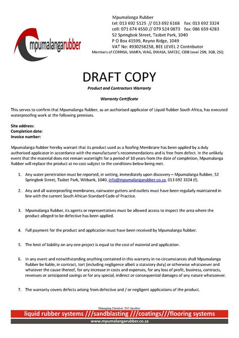 Guarantee Letter Format For Waterproofing Work Waterproofing Warranty Waterproofing Specialists