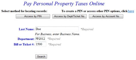 Ticket Number Search Pay Personal Property Tax