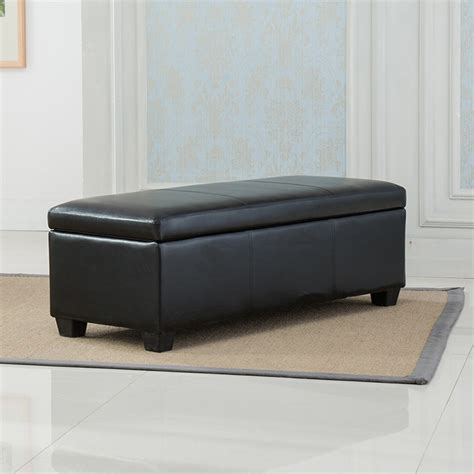 long leather ottoman bench black faux leather storage foot rest sofa ottoman bench