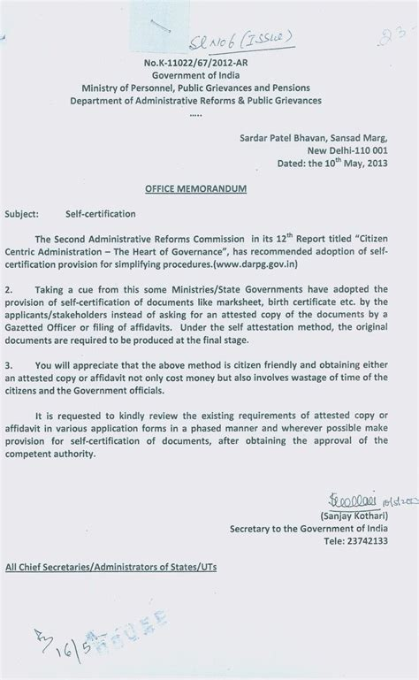 Birth Attestation Letter Inc India On Quot Self Attestation Was Introduced By Upa Modi Ji Pls See The Office Memo