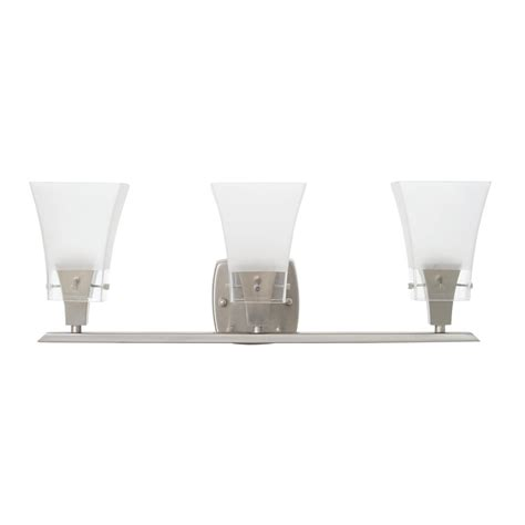 integrated led vanity light titan lighting cornhill 3 light brushed nickel led bath