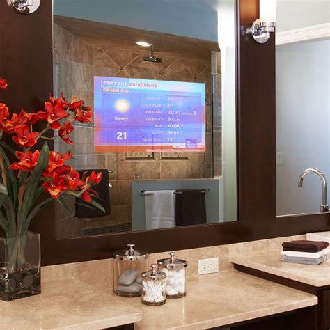 tv behind mirror bathroom vanishing vanity tv mirror techome builder