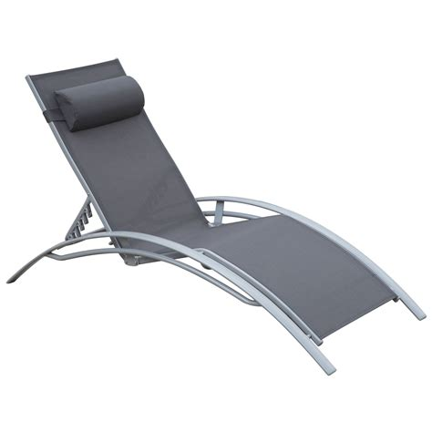Reclining Chaise Lounge Chair Outsunny Adjustable Patio Reclining Outdoor Chaise Lounge Chair With Cushion And Pillow Grey