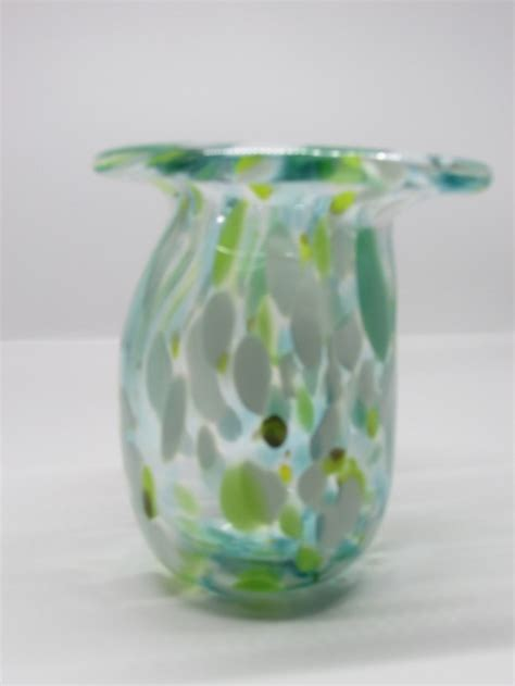 Handmade Glass Vase - small handmade green and white glass vase aftcra