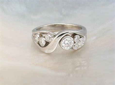 Handmade Artisan Engagement Rings - bezel set ring in 14k white gold artisan