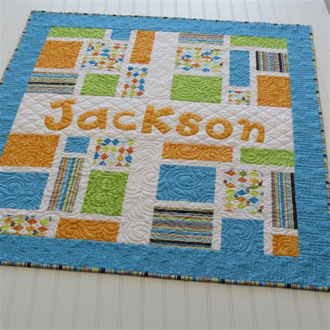 Quilt Shop Names by Personalized Baby Quilt With Name Applique Fabric Letters In
