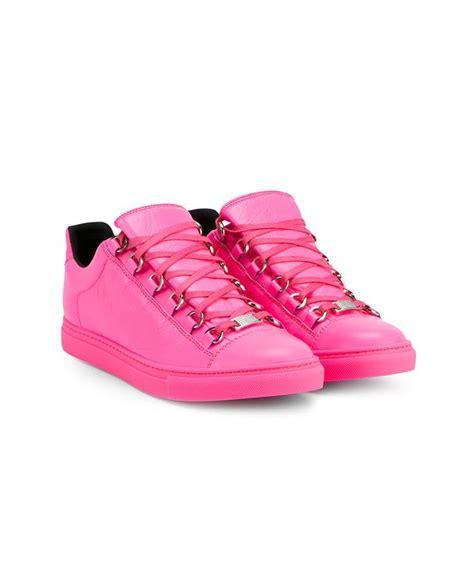 pink balenciaga sneakers balenciaga arena low top leather sneakers