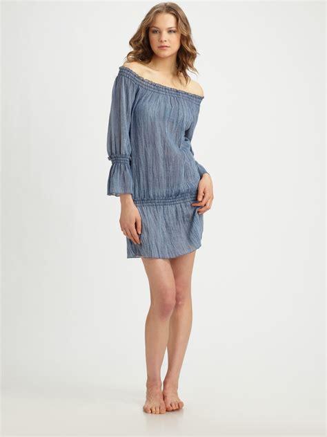 Shoulder Denim Dress Light Blue Blue debbie katz the shoulder denim mini dress in blue denim lyst
