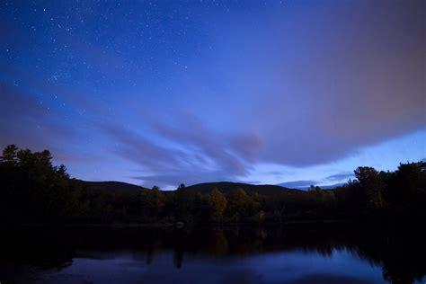 picture fog night sky stars night trees clouds