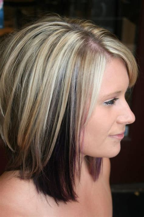 hairstyles with highlights underneath highlights with color blocked black and purple underneath